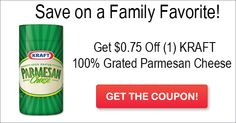 Top Coupon of the Day – $0.75 off (1) KRAFT 100% Grated Parmesan Cheese