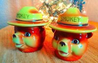 Smokey Bear Salt and Pepper Shakers Japan by Norcrest
