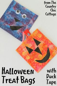 DIY Halloween Treat Bags -- make your own treat bags in less than 15 minutes using Duck Tape and ziploc bags.  A fun craft project that the ...