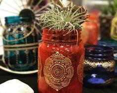 Mason jar, Bohemian Lantern, Moroccan Home Decor, Mason Jar Lantern, Painted Mason Jar Decor-HAJAR Jar Lantern with Gold Henna Detail