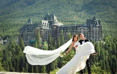 Want to get married in the Mountains? check out the fairy-tale castle in Banff Canada at the Fairmont. They specialize in destination weddings.