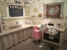 la la by mona's sewing studio - features in Studios magazine.wish this was my sewing room! Sewing Room Design, Sewing Spaces, My Sewing Room, Sewing Studio, Sewing Rooms, Home Command Center, Craft Room Storage, Craft Rooms, Home Office