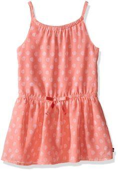Nautica Big Girls Chiffon Printed Dress with Tier Soft Coral 12