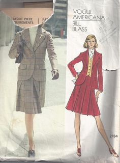 Vogue 2734 Vintage Sewing Pattern by Bill Blass Suit by Buyfoxy, $10.00