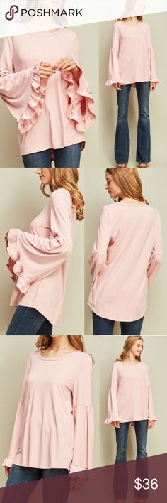 Entro Bell Sleeve Ruffle Hem Tunic Tee Blouse Crew-neck top featuring bell sleeves with ruffled cuffs. Non-sheer. Knit. Lightweight.  FABRIC CONTENT: 94%POLYESTER 6%SPANDEX  Browse my closet and bundle items for a discount! Entro Tops Tunics