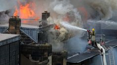 """May 23, 2014 - Firefighters battle major blaze at Mackintosh Glasgow School of Art - """"Firefighters are battling a blaze at the world famous Charles Rennie Mackintosh-designed Glasgow School of Art."""""""