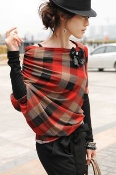 lovely style - basic black and a wrap of plaid. | Clothes | Pinterest | Plaid, Wraps and Fall Plaid