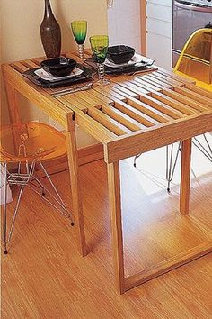 66 Handsome Small Dinning Table Design Ideas on A Budget - DIY Furniture Plans Folding Furniture, Smart Furniture, Space Saving Furniture, Furniture Projects, Wood Furniture, Furniture Design, Space Saving Dining Table, Furniture Market, Furniture Plans