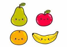 4 fruits mignons de bande dessinée