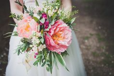 Dreamy flowers!  Large Peony Peonies Bouquet Flowers Bride Bridal Coral DIY Summer Tipi Wedding http://www.eva-photography.com/