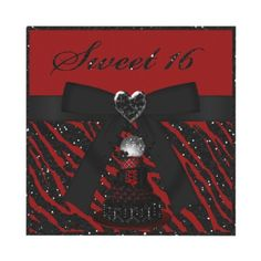 Sweet 16 red & black Disco Diva cake with black glitter animal print, cute ribbon and bow and digital jewel heart birthday party invitations. Invites are decorated both sides. Easy to personalize. $1.95