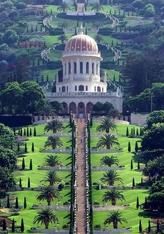 Haifa, Israel - Baha'i Gardens UNESCO Word Heritage Site Built in 1987 by Iranian architect Fariborz Religious freedom in Israel//Sahba. The Terraces of the Bahá'í Faith, also known as the Hanging Gardens of Haifa.