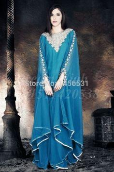 Fashion Muslim abaya maxi long sleeve moroccan kaftan dress to party crystal beaded chiffon long navy blue arabic evening dress