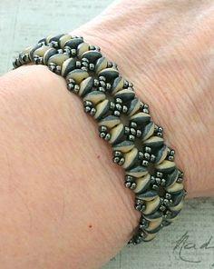 """BANDWIDTH BRACELET 15/0 seed beads Miyuki """"Metallic Gunmetal"""" (451) 11/0 seed beads Miyuki """"Metallic Gunmetal"""" (451) 8/0 seed beads Miyuki """"Metallic Gunmetal"""" (451) SuperDuo beads """"Duet Navy/Ivory Mat"""