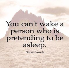 """You can't wake a person who is pretending to be asleep."" (Navajo proverb)"
