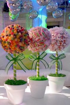 Nice for candy land theme party or baby Candy bouquet Pins you might like - Inbox - Yahoo MailGreat for candyland party decorCenterpieces for each tableLove this for the Christmas party and our wedding Deco Buffet, Candy Trees, Candy Topiary, Topiary Trees, Sweet Trees, Candy Bouquet, Candy Table, Candy Party, Partys