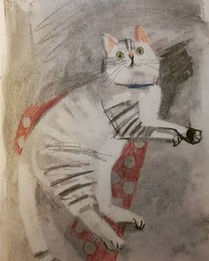 Jacquie Hughes : An old sketchbook cat drawing #cat #spooked #drawing #mixedmedia」