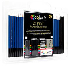 Colore 26 Piece Drawing Pencils Set Artist Creative Kids Professional Free Ship  #NotApplicable