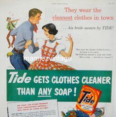 1950s Tide Detergent Magazine Advertisment/ Tide by mamiezvintage, $9.95