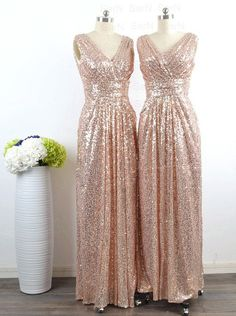 Buy New Style Glamorous V-neck Floor Length Sleeveless Sequins Gold Bridesmaid Dress Bridesmaid Dresses under US$ 106.99 only in SimpleDress.