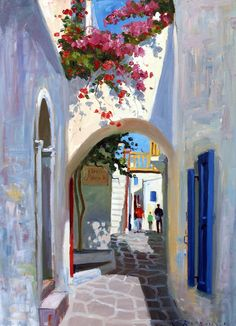 Mykonos Archway Canvas Print / Canvas Art by Roelof Rossouw Diy Canvas Art, Acrylic Painting Canvas, Fine Art Amerika, Greece Painting, Canvas Prints, Art Prints, Beautiful Paintings, Painting Inspiration, Art Drawings