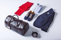 Spodnie Chino Pedro Czerwone, Koszula Parla, Marynarka Monte Verde, Buty Corby Granatowe, Torba Lobos, Pasek Klasyczny Brązowy