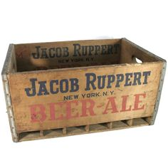 New to Revendeur on Etsy: Antique Wooden Beer Crate -- Jacob Ruppert Brewery Beer Crate -- New York Yankees Memorabilia -- Large Wooden Box -- Rustic Decor -- BS3500 (95.00 USD)