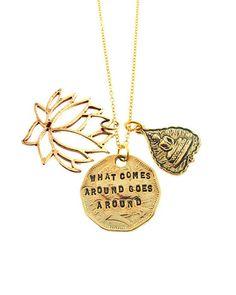Gold Karma Necklace by JewelMint.com, $59.98