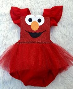"""Love this custom order!! Elmo inspired romper!"""