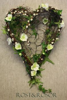 My heart ... - A heart of Willow and Helleborus - on a found of wire - actually a funeral decoration, also for wedding, namegiving ceremonys or just on the wall too christmas - Rust and roses