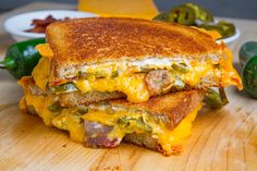 Jalapeno Popper Grilled Cheese Sandwich or roasted jalapeños (you can do them directly on an open flame until charred), fried bacon, and shoved it all into a sandwich with American cheese and cream cheese, then fried it all in the rendered bacon fat