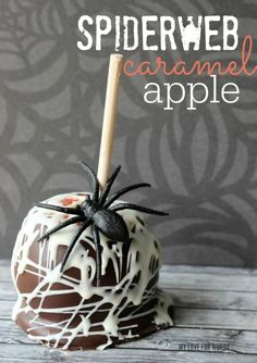 Easy and delicious gourmet spiderweb caramel apple