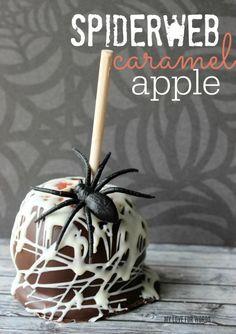 Easy and delicious gourmet spiderweb caramel apple