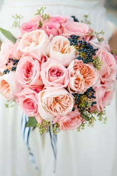 "Peach ""Juliet"" David Austin English Garden Roses, Pink Roses, Dark Blue Privet Berries, Green Seeded Eucalyptus Hand Tied Wedding Bouquet ~~"
