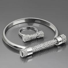 (+ Brazaletes Anillos) de La Joyería de Herradura Tornillo Amor Bangle & bracelet Silver-Color Pulsera Joyería de Moda Para mujeres Hombres Regalos