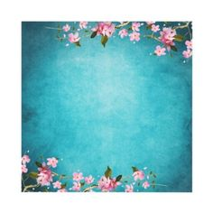 Teal Blue Pink Japanese Cherry Blossoms Wedding Personalized Announcements by WeddingCentral. love these colors