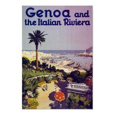 Poster de viagens do vintage, Genoa Italia por yesterdaysgirl
