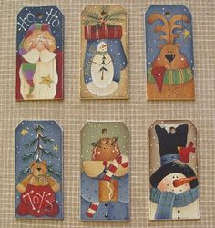 Set of 6 designs for Christmas Hang Tags Christmas Rock, Christmas Ornaments To Make, Christmas Gift Tags, Christmas Projects, Handmade Christmas, Holiday Crafts, Christmas Decorations, Pintura Country, Painted Ornaments