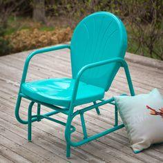 Aqua Teal Turquoise Blue Outdoor Retro Modern Classic Patio Glider Chair