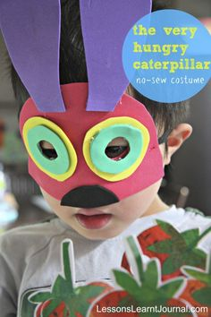 How to make a quick DIY no sew The Very Hungry Caterpillar costume. So easy that kids can make it too. Awesome. via Lessons Learnt Journal.