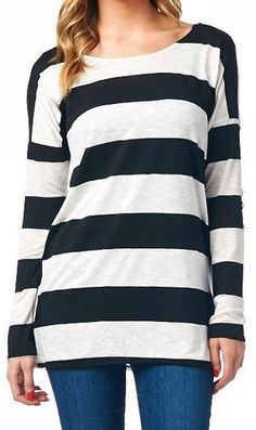 Striped Long Sleeved Top with Lace Crochet Elbow Detail