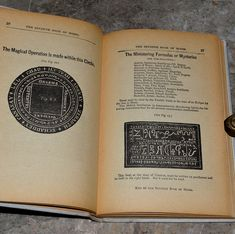 """A Magical circle, and seal with citation from an early 1900's edition of """"The Sixth and Seventh Books of Moses""""."""