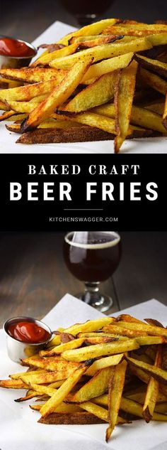 Craft beer fries are seasoned hand cut restaurant style french fries soaked in beer before baking in the oven.