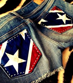 Rebel Flag Upcycled Cowgirl Shorts by CowgirlCouture76
