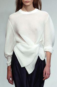 Pleated sweatshirt with elegant twisted drape; fashion details // 1205 Spring 20...