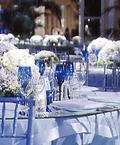 working on color palettes: blue and white wedding. check out the pretty blue glasses.