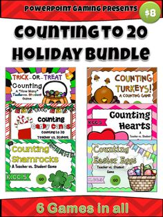 Here are 6 games for all your major celebrations for the school year! This bundle contains 6 Powerpoint Bingo games for the 6 major holidays: Halloween, Thanksgiving, Christmas, Valentine's Day, St. Patrick's Day, and Easter. Great for a guided math center or rainy day activity. Great for individual practice on the iPad! Extra licenses are $4.