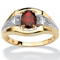 PalmBeach 18k Gold over Sterling Silver Garnet and Diamond Accent Ring Men's