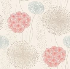 Gardenia (60402) - Harlequin Wallpapers - Large scale seed heads in a subtle design , in soft elegant colour combinations. Shown here in the grey, blue grey and raspberry red on off-white. Available in other colours. Please request sample for true colour match. Wide width