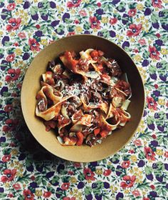 pappardelle with beef and mushroom ragu, via real simple jan 2010 (mag saved)